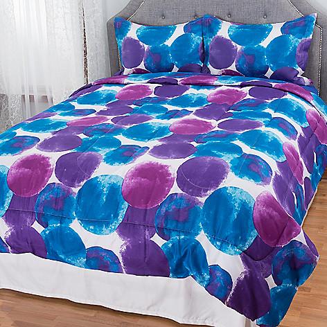 ... Cozelle® Jewel Toned Water Color Geometric Three-Piece Comforter Set