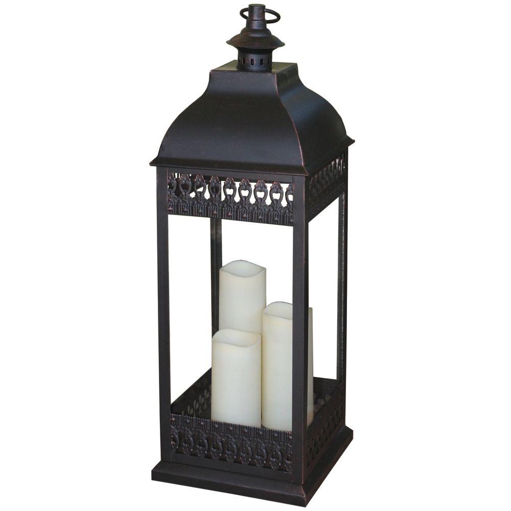 448-600 - Smart Design San Nicola Triple Candle LED Lantern w/ On/Off Timer
