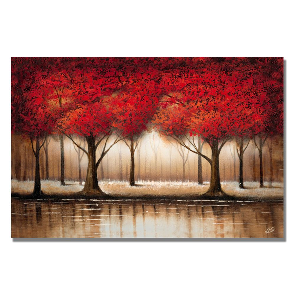 """448-627 - Rio """"Parade of Red Trees""""  35"""" x 47"""" Ready to Hang Canvas Art"""