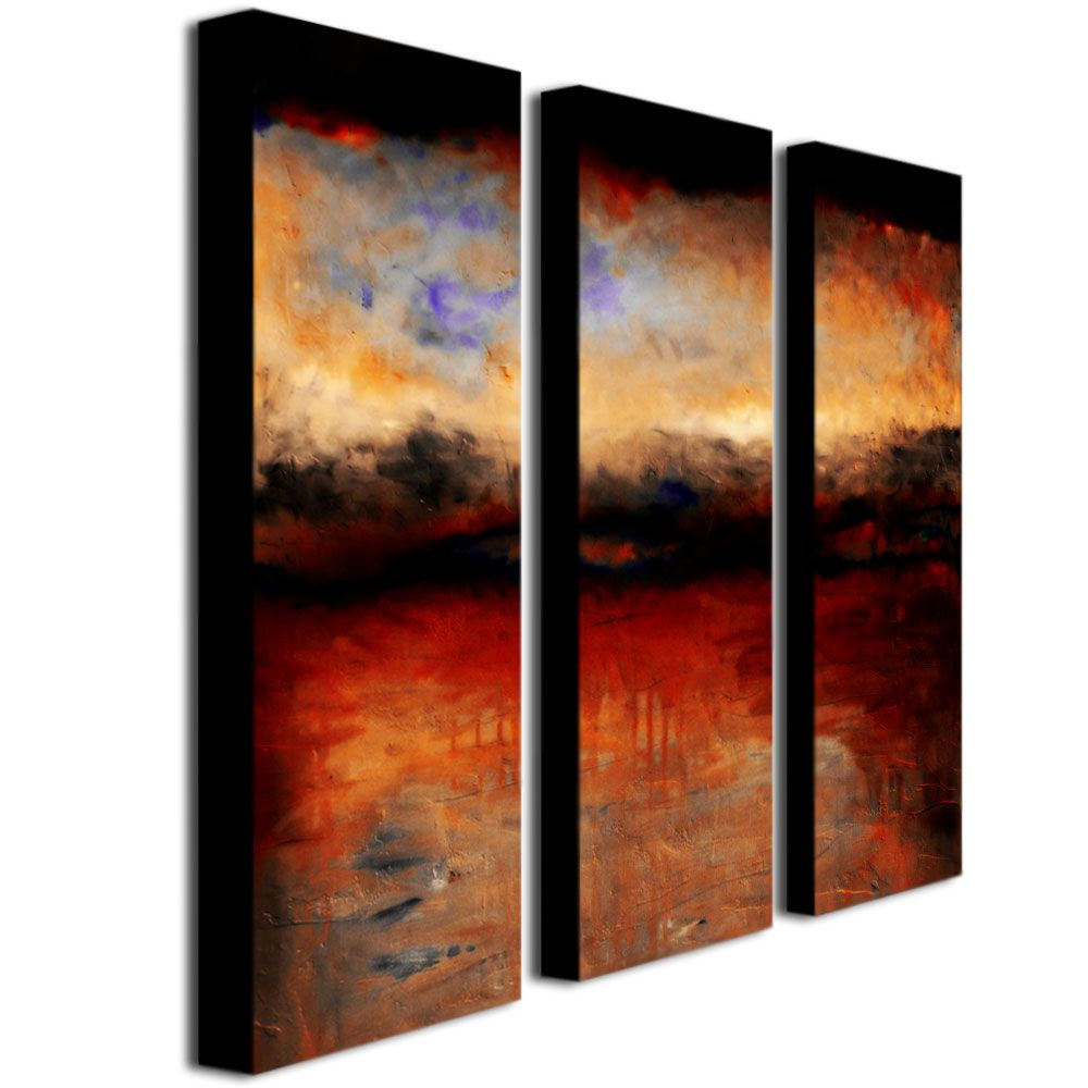 """448-629 - Michelle Calkins """"Red Skies at Night"""" 10"""" x 32"""" Three-Panel Ready to Hang Canvas Art Set"""