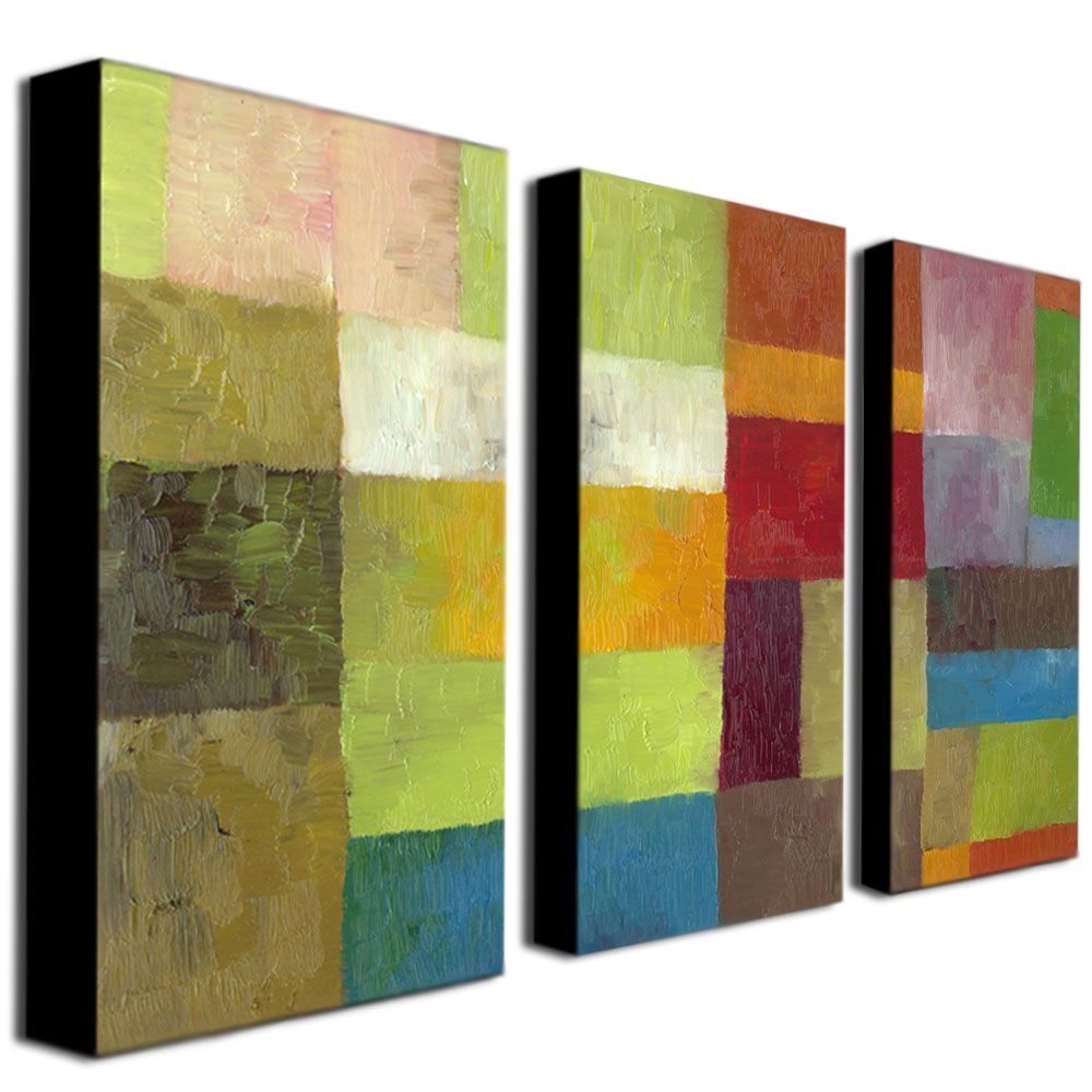 """448-630 - Michelle Calkins """"Abstract Color Panels IV"""" 16"""" x 32"""" Three-Panel Ready to Hang Canvas Art Set"""
