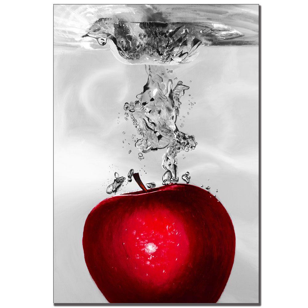 "448-638 - Roderick Stevens ""Red Apple Splash"" 22"" x 32"" Ready to Hang Canvas Art"