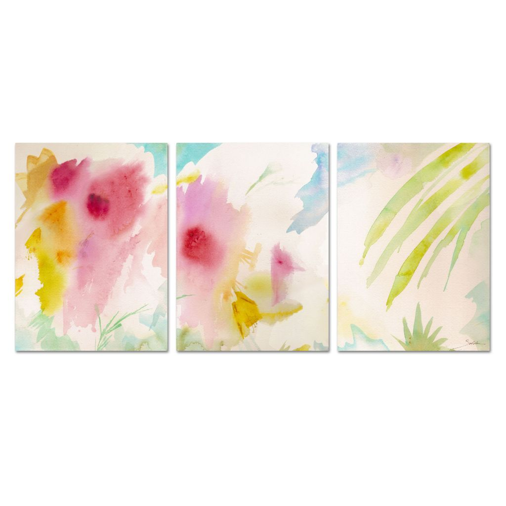 "448-641 - Sheila Golden ""Pink Interlude Triptych"" Three-Panel Ready to Hang Canvas Art"