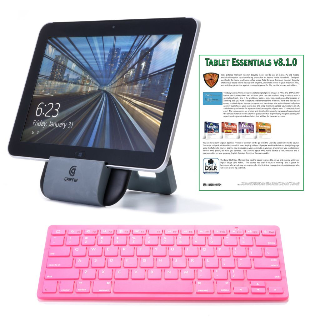 "448-677 - HP 10.1"" 64GB Windows® 8 4G or Wi-Fi Elitepad w/ Office, Keyboard, Software & Stand"