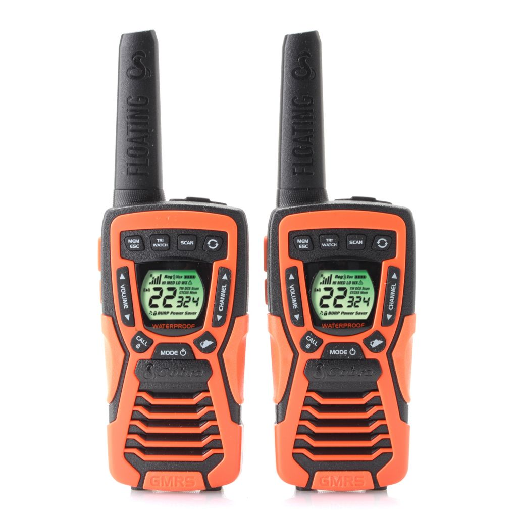 448-733 - Cobra® Water-Resistant NOAA Emergency & Weather Alert Set of Two Walkie Talkies