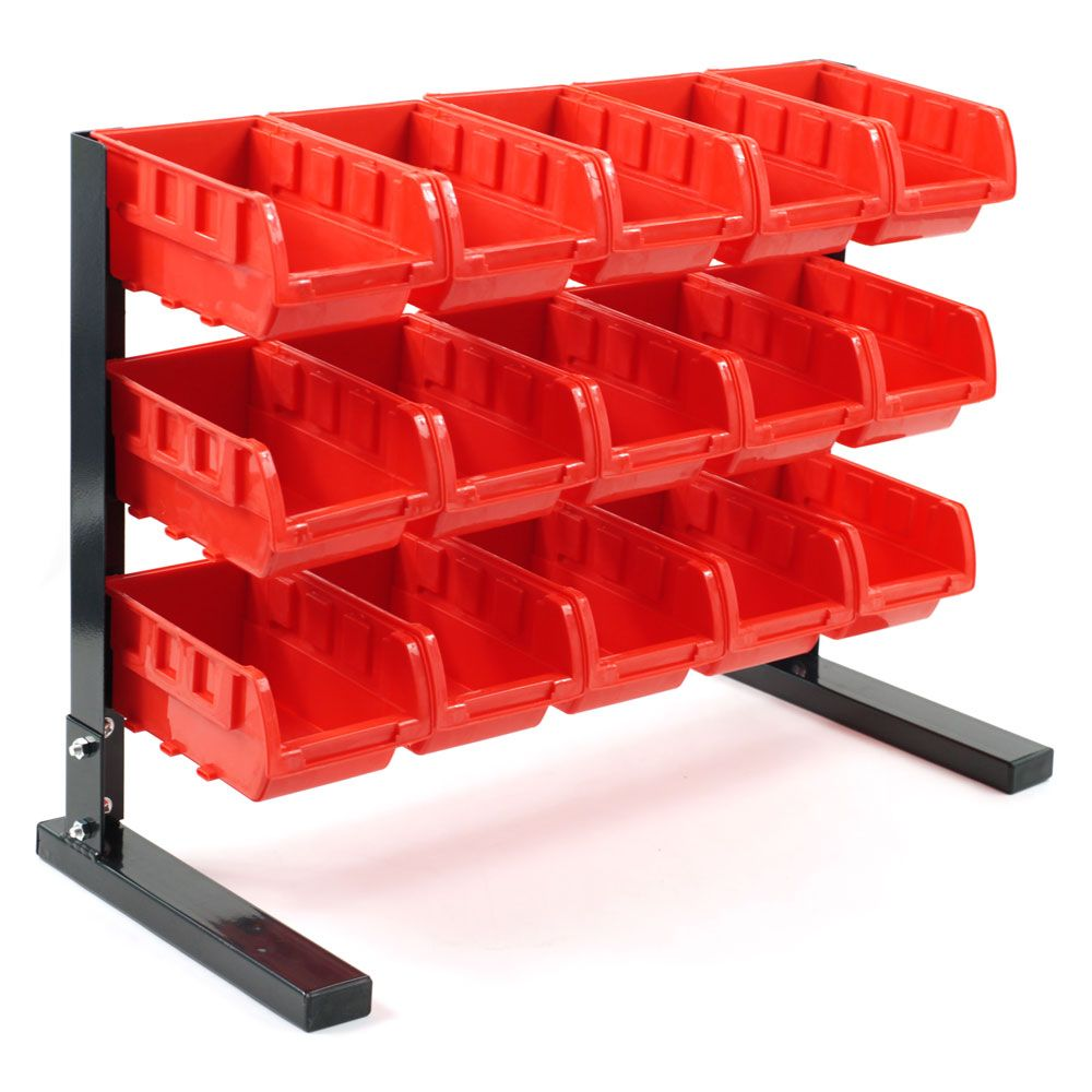 448-859 - Stalwart 15-Bin Bench Top Parts Rack
