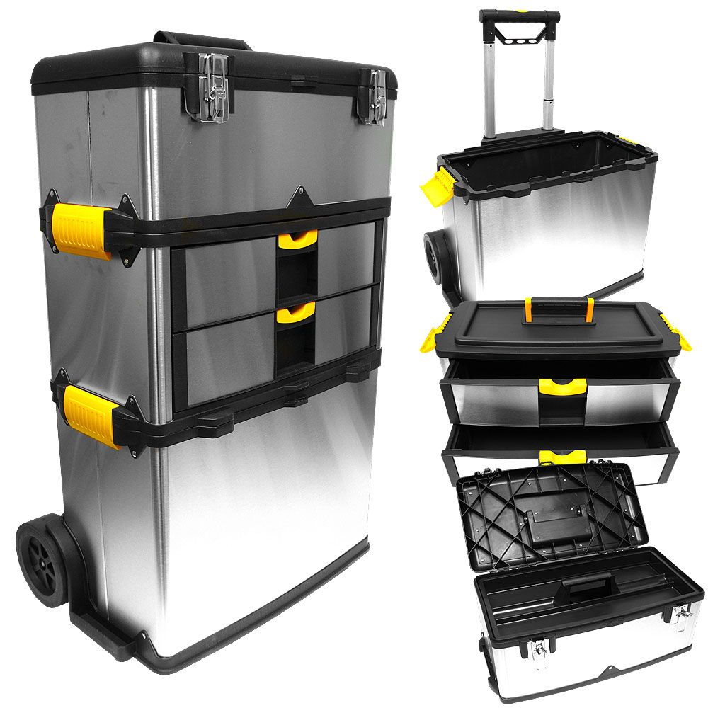 448-879 - Stalwart Massive Mobile Stainless Steel Three-Piece Tool Box