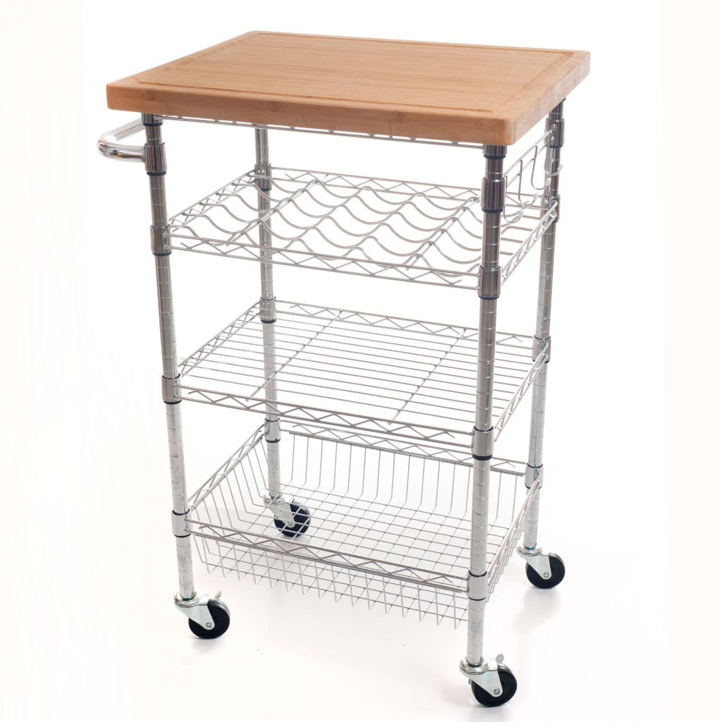 448-987 - Lavish Home Chrome Wine Dining Cart w/ Butcher Block Bamboo Top