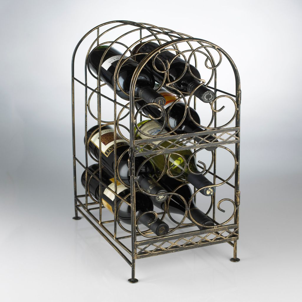 449-002 - Antique-Style Bronze-tone Eight-Bottle Wine Jail