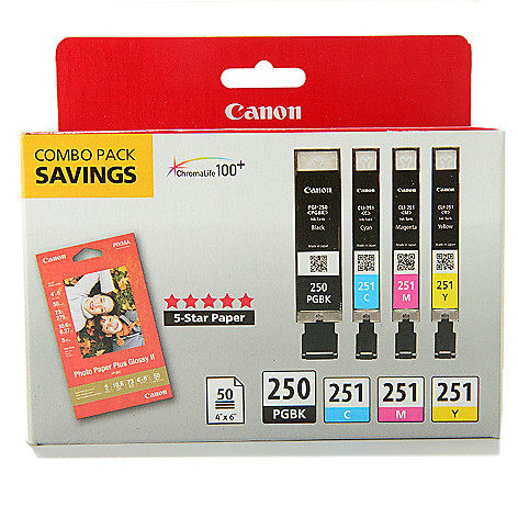 449-042 - Canon PIXMA Black & Color Ink Cartridge Combo Pack w/ Photo Paper