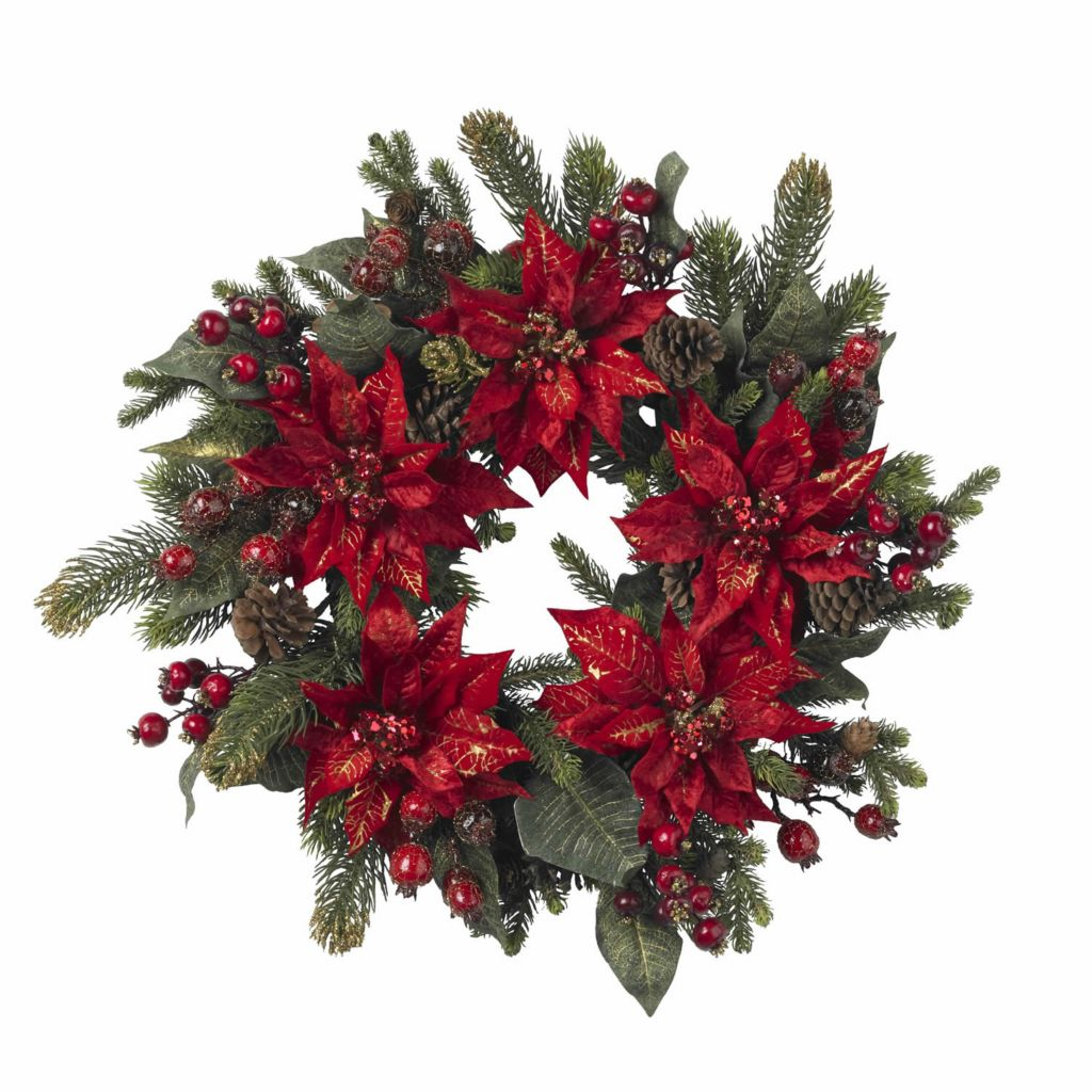 "449-063 - 24"" Faux Poinsettia & Berry Wreath"