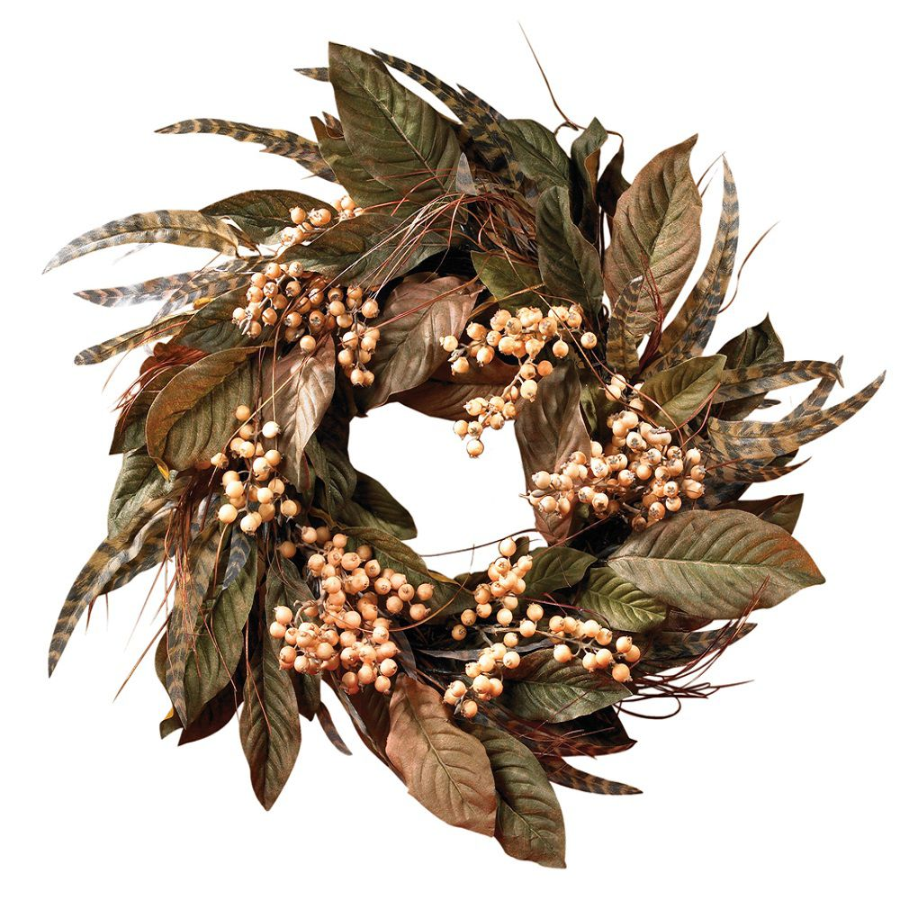 "449-091 - 24"" Feather & Faux Berry Wreath"