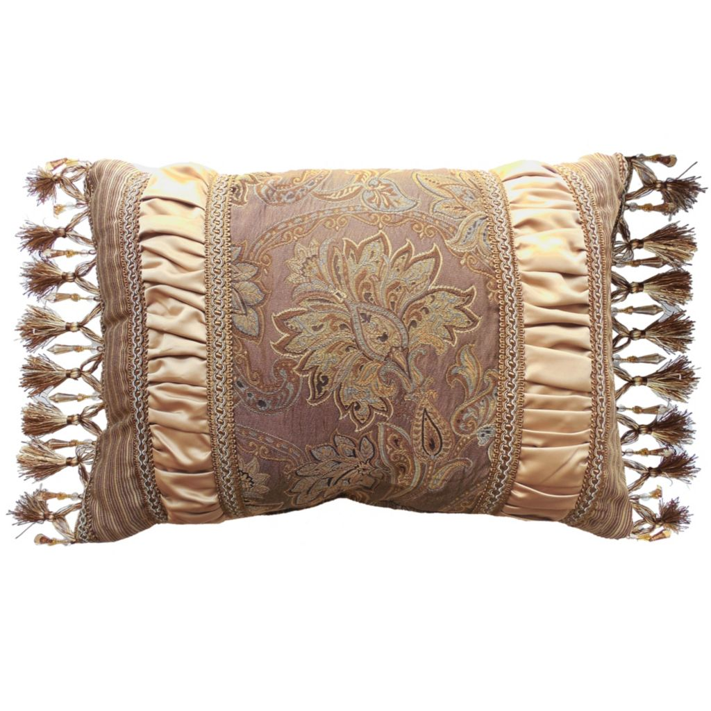 "449-158 - Croscill 21"" x 15"" Champagne Floral Boudoir Pillow"