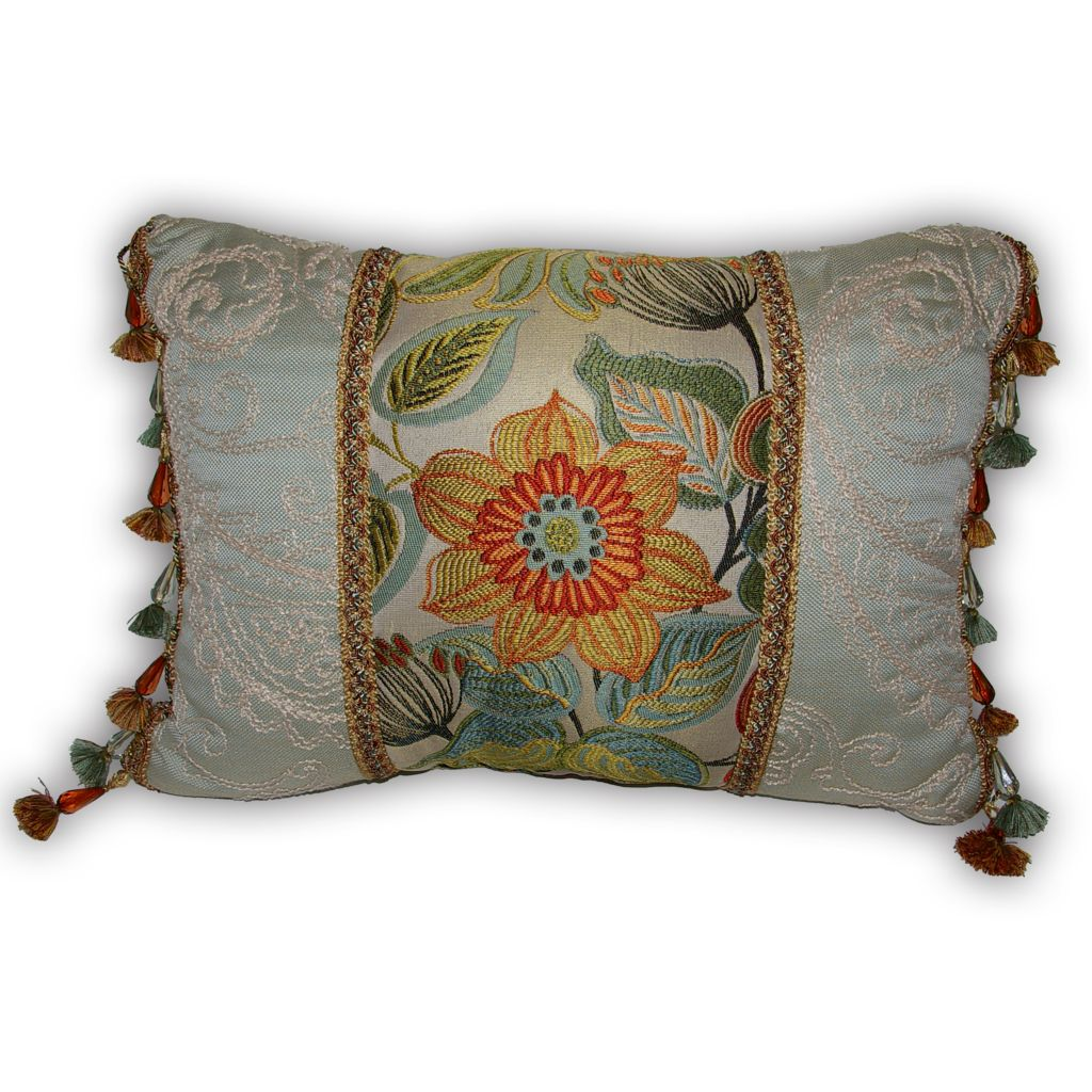 "449-165 - Croscill 20"" x 15"" Tropical Flower Boudoir Pillow"