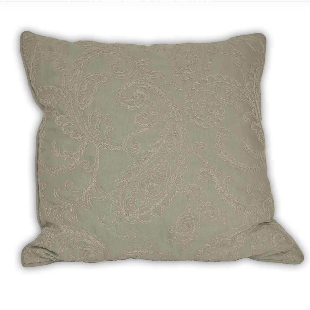 "449-166 - Croscill 26"" x 26"" Paisley Embroidered Decorative Pillow"