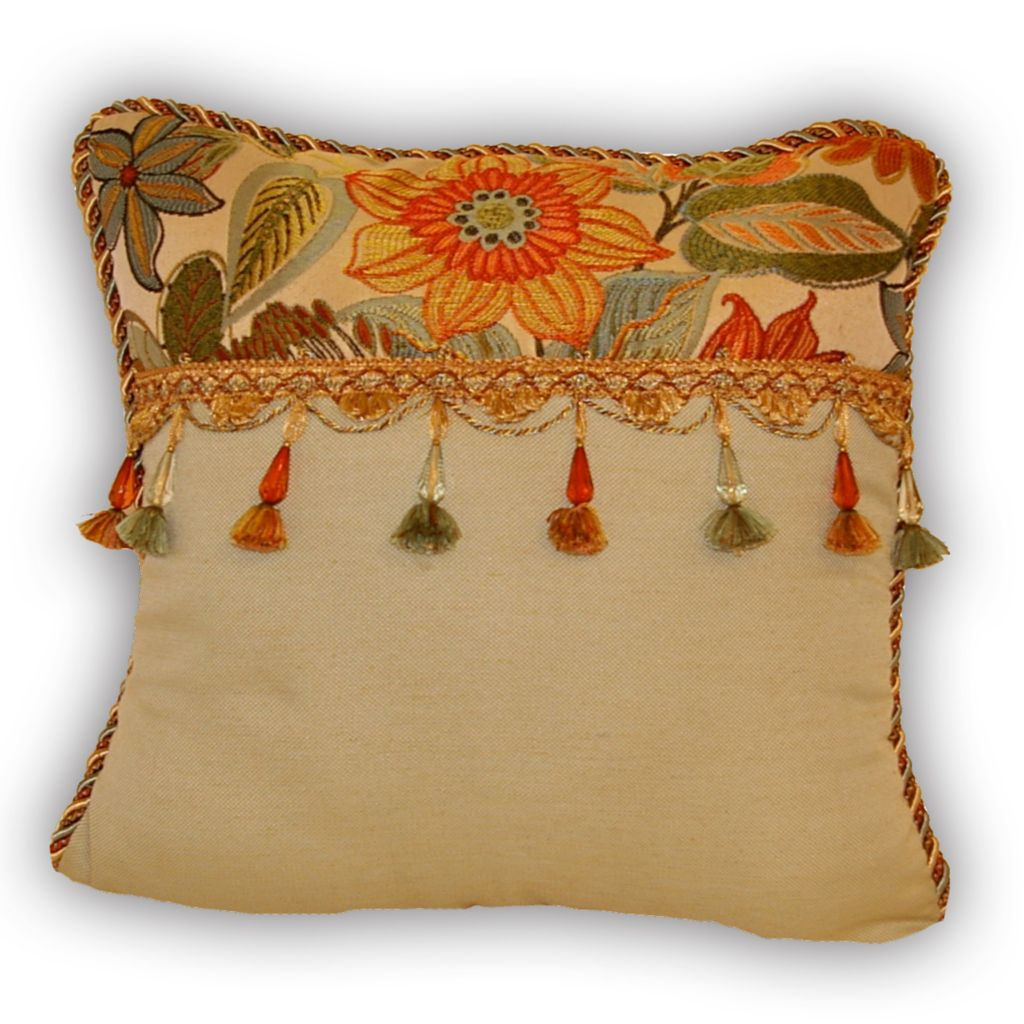 "449-167 - Croscill 18"" x 18"" Tropical Flower Decorative Pillow"