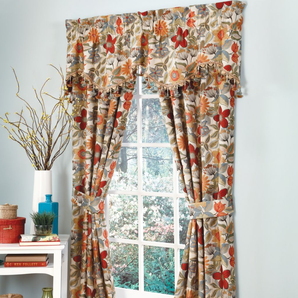 "449-169 - Croscill 75"" x 18"" Tropical Flower Scalloped Window Valance"