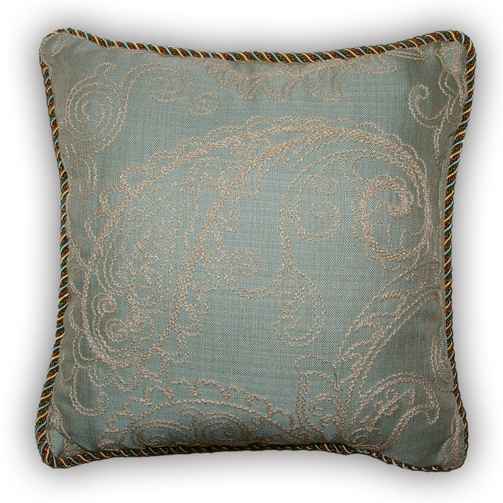 "449-170 - Croscill 18"" x 18"" Aqua Floral Paisley Decorative Pillow"