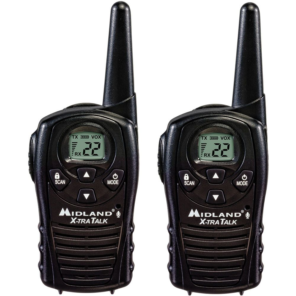 449-238 - Midland™ Set of Two 18 Mile Range 22 Channel Two-Way Radios w/ Rechargeable Batteries