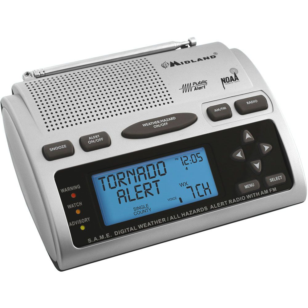 449-243 - Midland™ 23 Code AM/FM Weather Alert Radio w/ 10-Alert Memory & Alarm Functions