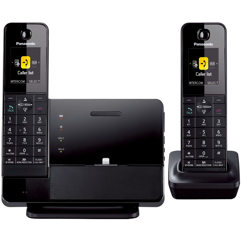449-244 - Panasonic Link2Cell Bluetooth® Smartphone or iPhone Dock w/ Two Wireless Handsets