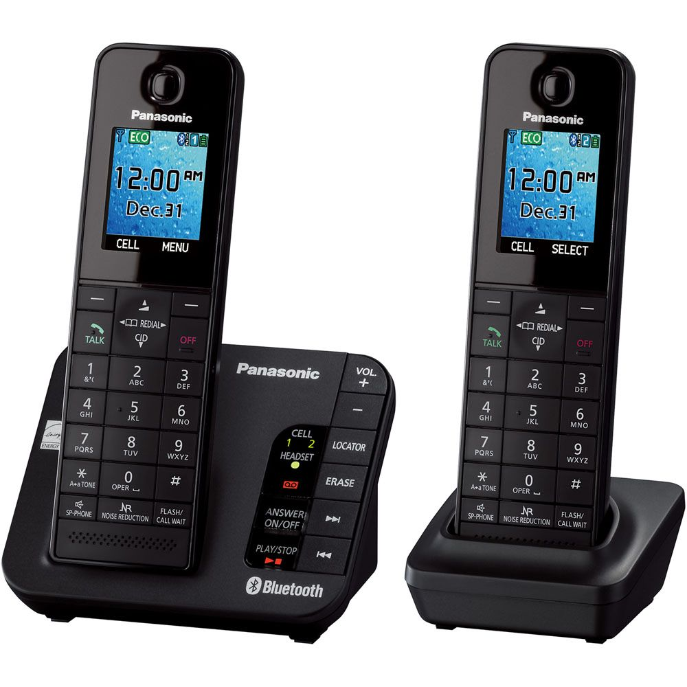 449-249 - Panasonic Link2Cell Two-Line Bluetooth® Answering System w/ Two or Three Wireless Handsets