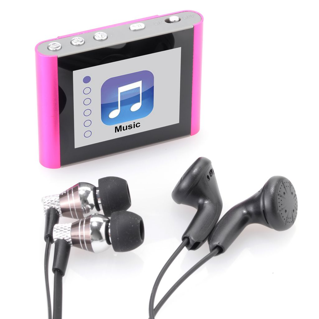 "449-266 - Eclipse Fit Clip 8GB MP3 Player w/ 1.8"" Display & Bonus Mybuds Pro Metal Earbuds"