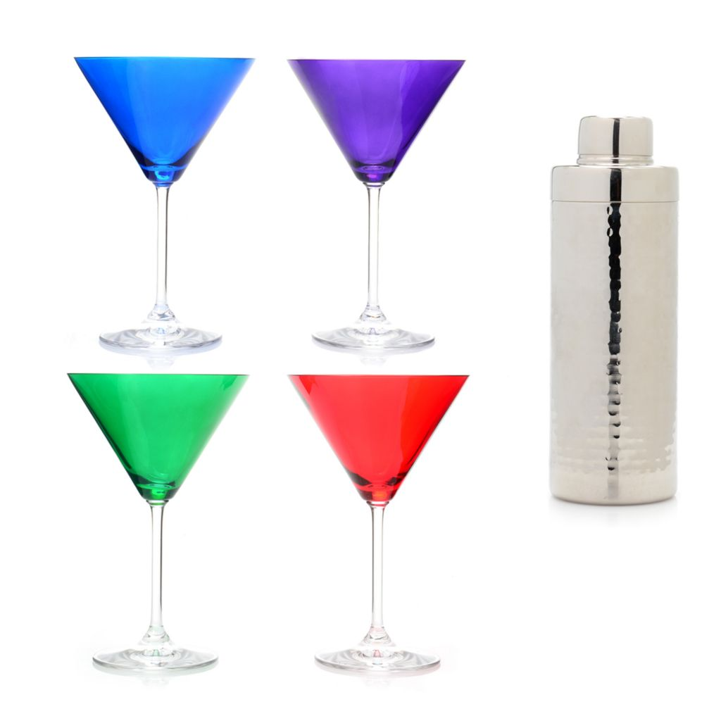 449-273 - Marquis® by Waterford® Set of Four 6 oz Colored Martini Glasses w/ Shaker