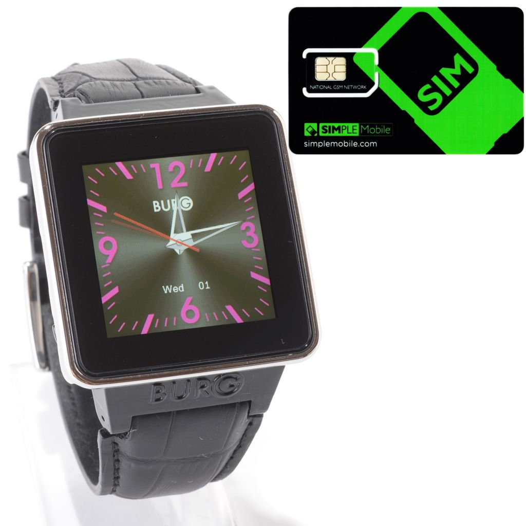 "449-304 - BURG® 1.5"" Touch Bluetooth® Smartwatch w/ Pre-loaded SIM & Leather Strap"