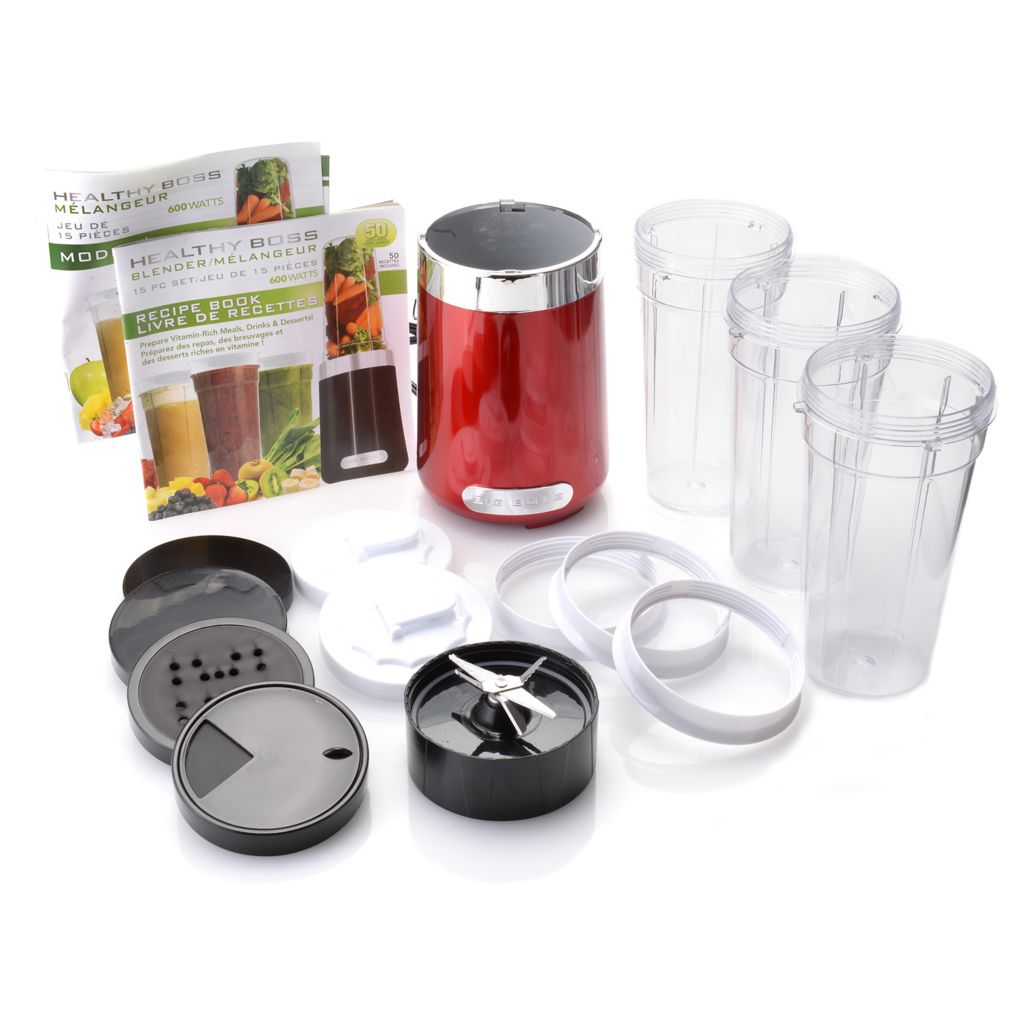 449-365 - Healthy Boss™ 15-Piece 600W Multi Use Blender Set w/ Cups, Lids & Recipe Book