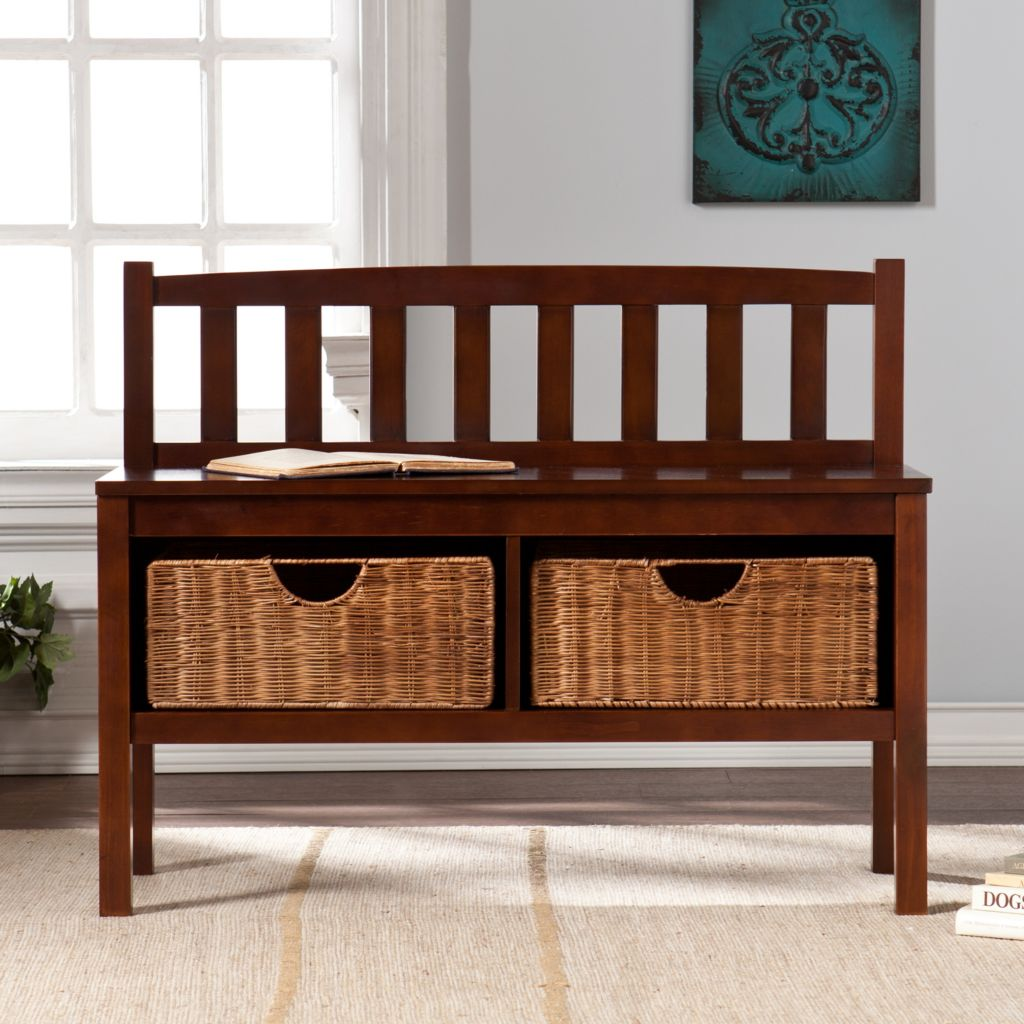 449-419 - NeuBold Home Pine Wood Bench w/ Two Storage Baskets