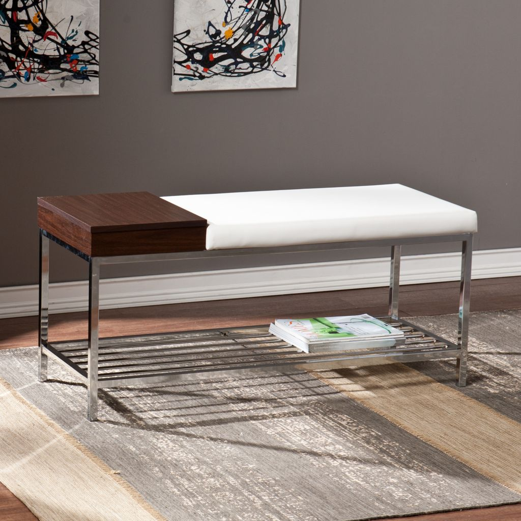 449-420 - NeuBold Home Wadley Metal, Wood Finish & Faux Leather Bench w/ Ventilated Shelf