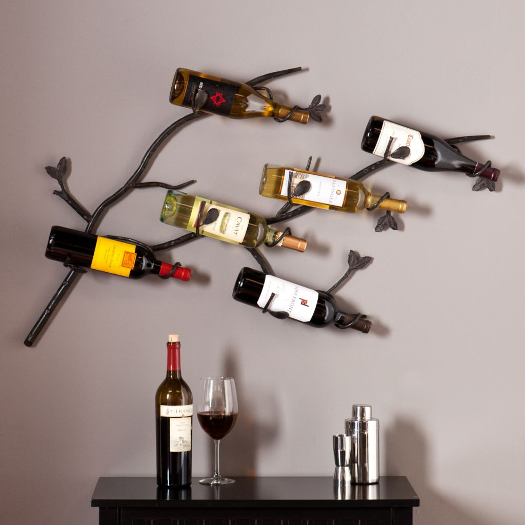 449-423 - NeuBold Home Willis Six-Bottle Metal Wall Mount Wine Rack Sculpture