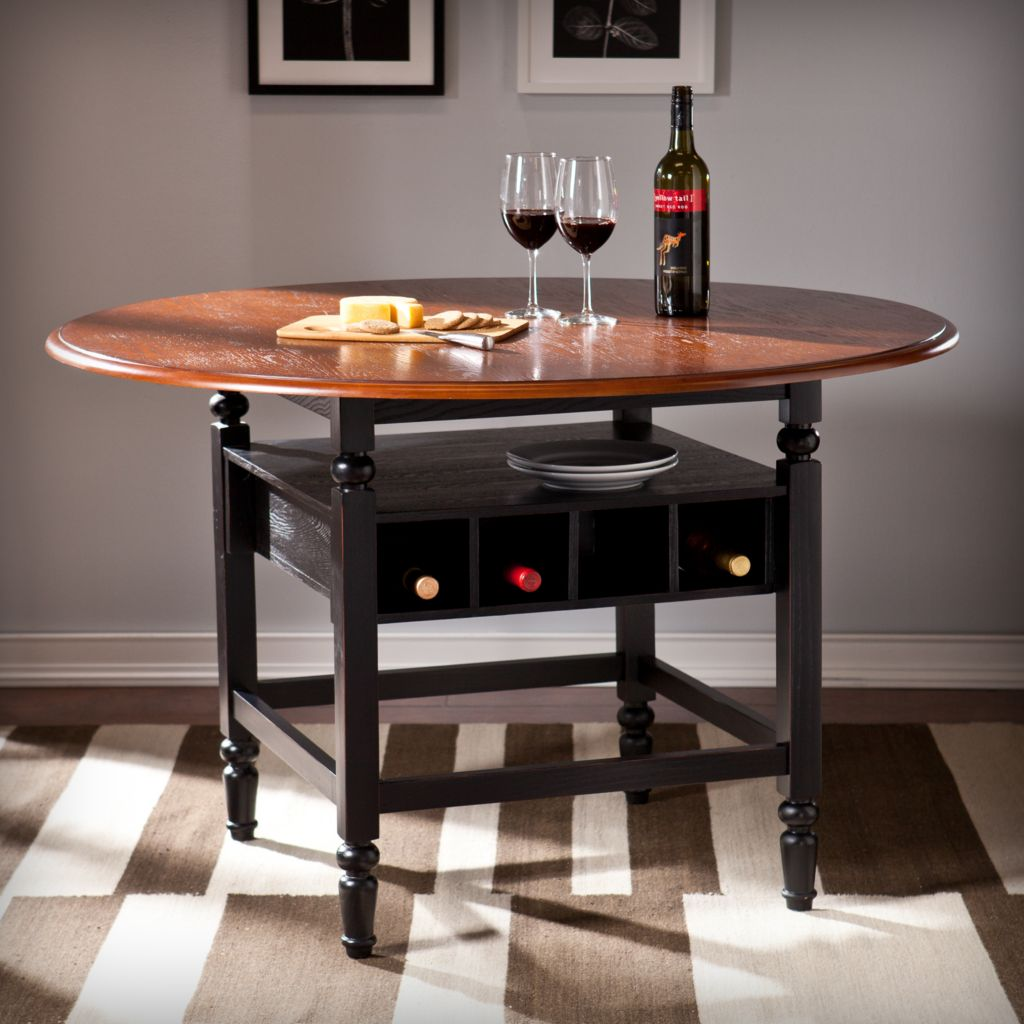 449-427 - NeuBold Home Seneca Wood & Veener Dining Table w/ Wine Storage