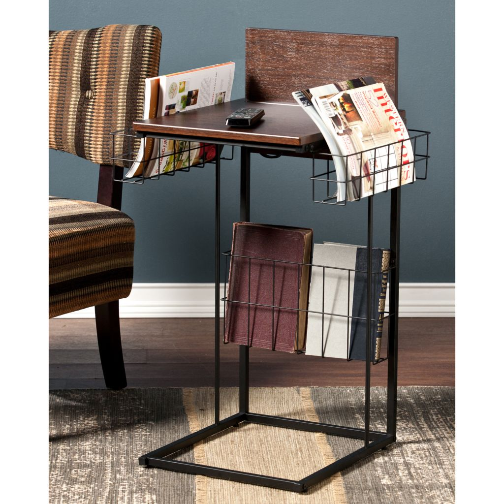 "449-437 - NeuBold Home 28"" Wood Finish & Metal Sofa Side Table w/ USB Port"