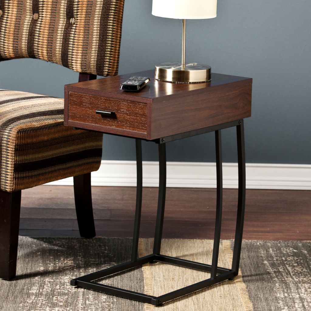 "449-438 - NeuBold Home 23"" Wood Finish & Metal Sofa Side Table w/ USB Port"