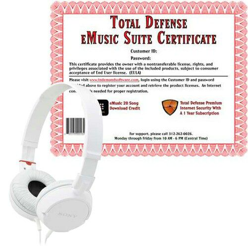 449-444 - Sony ZX Series Stereo Headphones w/ Total Defense & eMusic Certificate