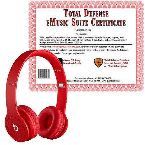 449-445 - Beats Solo HD On-Ear Headphones w/ Total Defense & eMusic Certificate