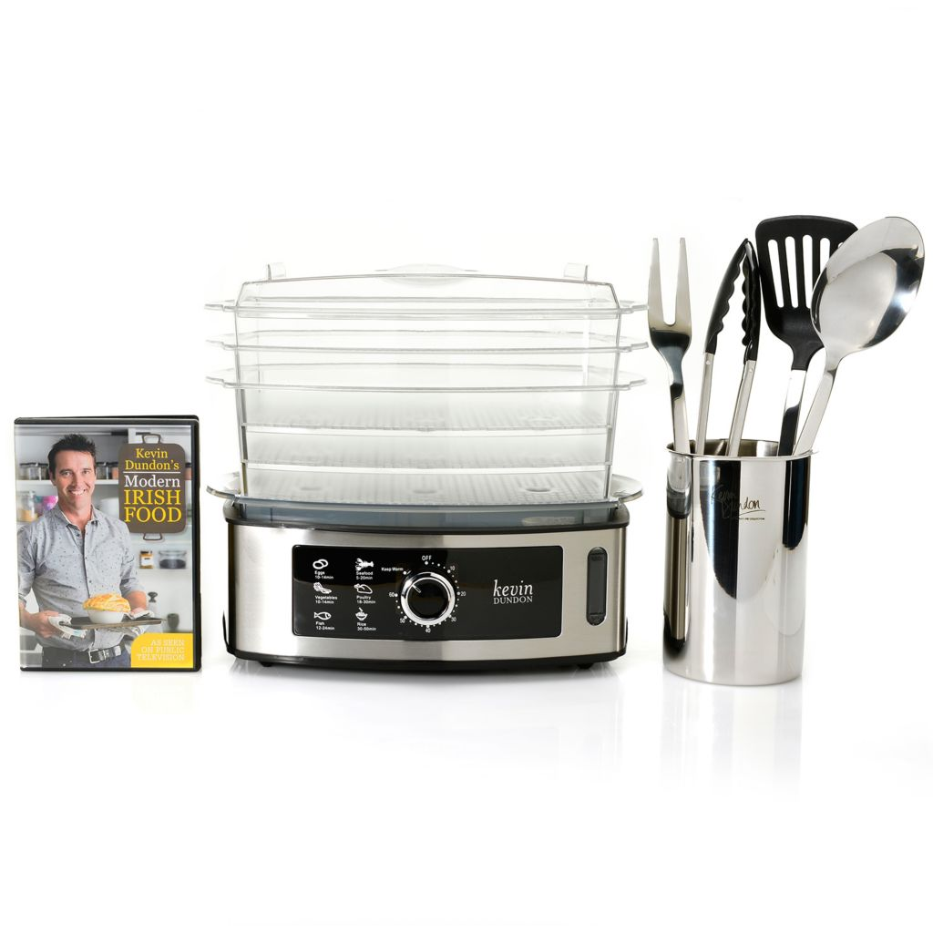 449-462 - Kevin Dundon 1000W 15 qt Food Steamer w/ Five-Piece Tool Set, DVD & Recipe Guides