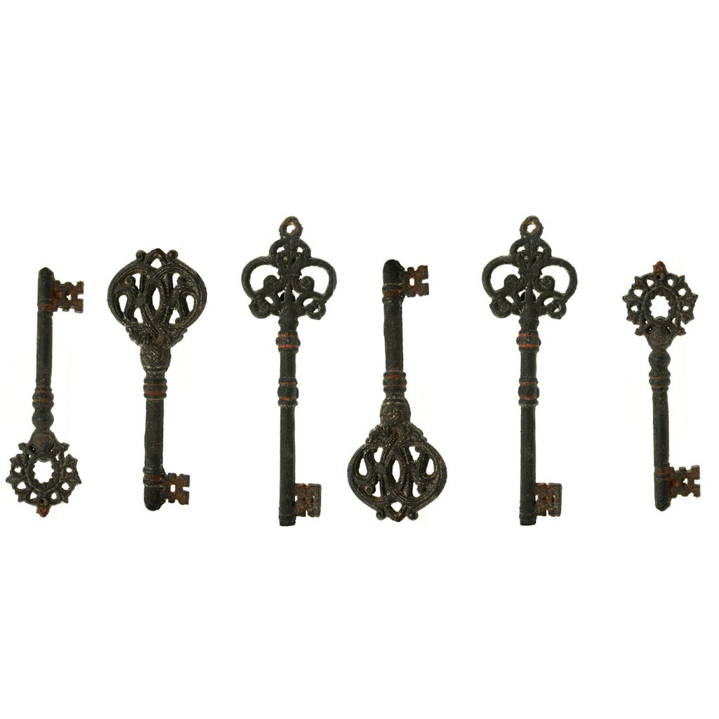 449-504 - Style at Home with Margie Set of Six Rustic Key Wall Adornments