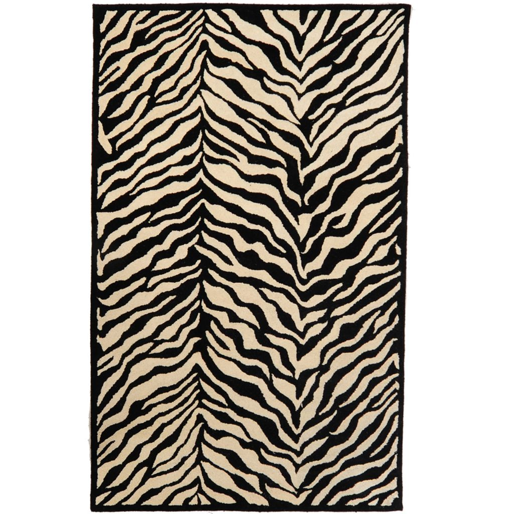 449-507 - Style at Home with Margie 5' x 8' Tiger Print Hand-Tufted 100% Wool Rug