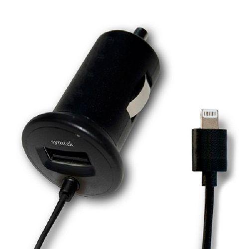 449-572 - Symtek Lightning Connector Car Charger for iPhone5/5s w/ Additional USB Port