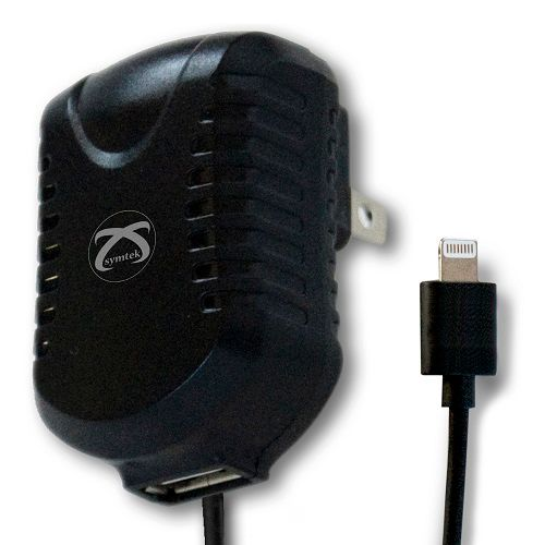 449-575 - Symtek Lightning Connector AC Charger for iPhone 5/5s w/ Additional USB Port