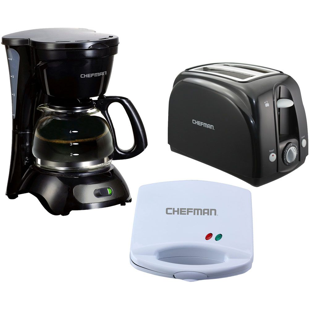 449-707 - Chefman Three-Piece Toaster, Coffee Maker & Countertop Grill Set