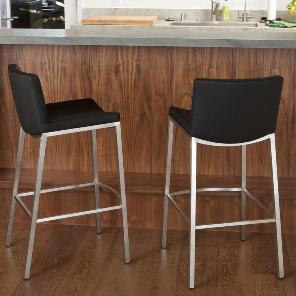 "449-719 - Christopher Knight Home™ 39"" Set of Two Faux Leather Black Barstools"