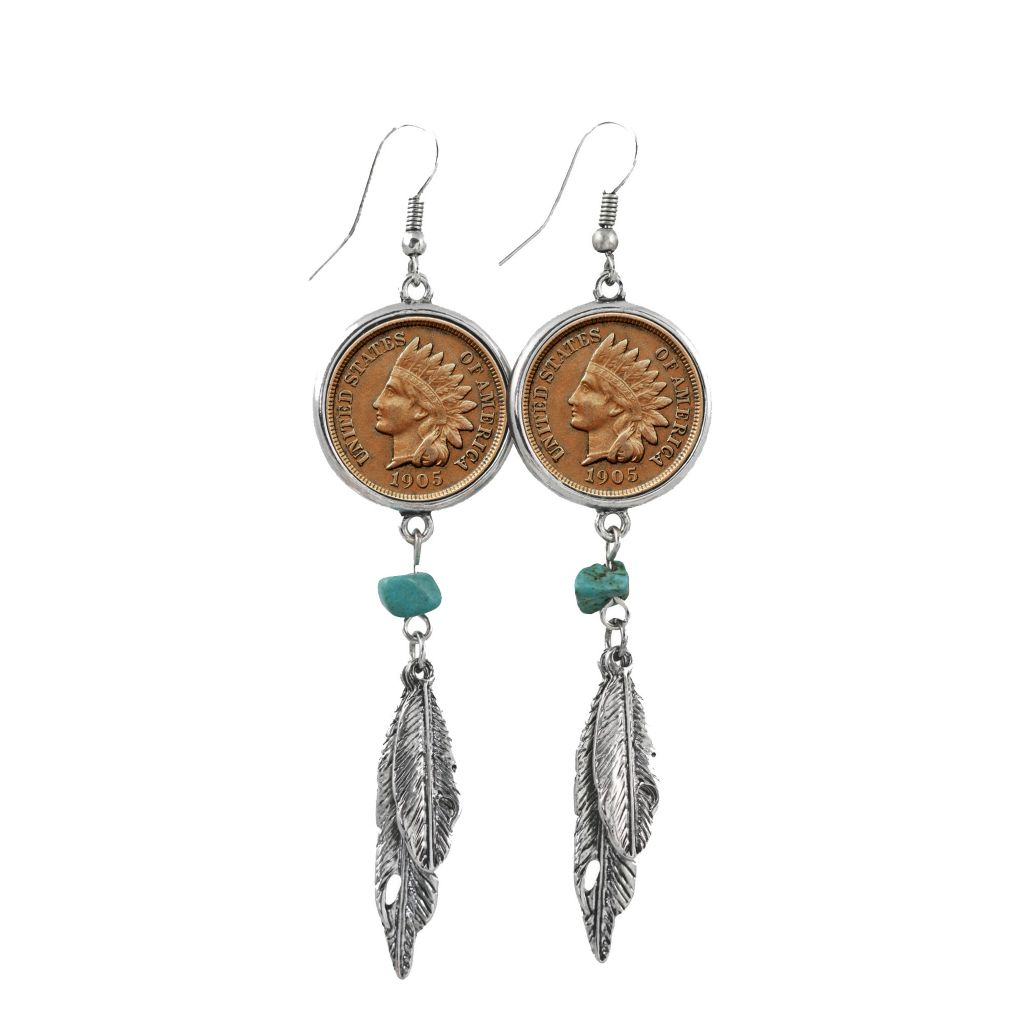 "449-772 - Old Indian Head Copper Penny & Turquoise 3.25"" Feather Earrings"