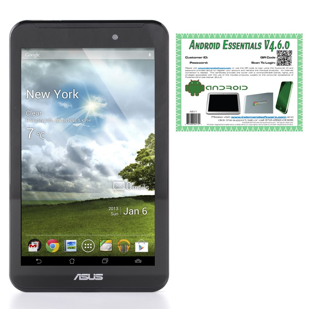 "449-783 - ASUS 7"" 8GB Android™ 4.3 Intel® Dual-Core Tablet w/ ADP & Technical Support"