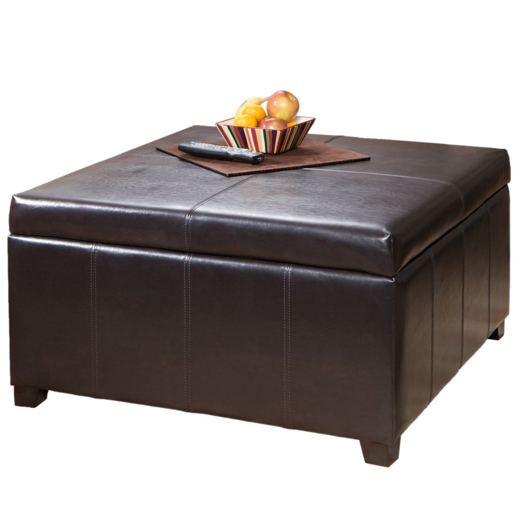 449-934 - Christopher Knight Home™ Brown Leather Square Storage Ottoman