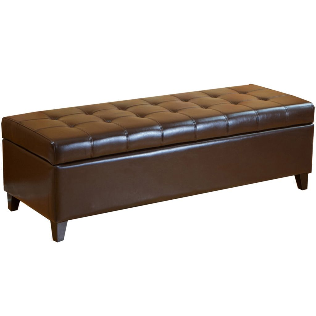 449-936 - Christopher Knight Home™ Brown Tufted Leather Storage Ottoman Bench