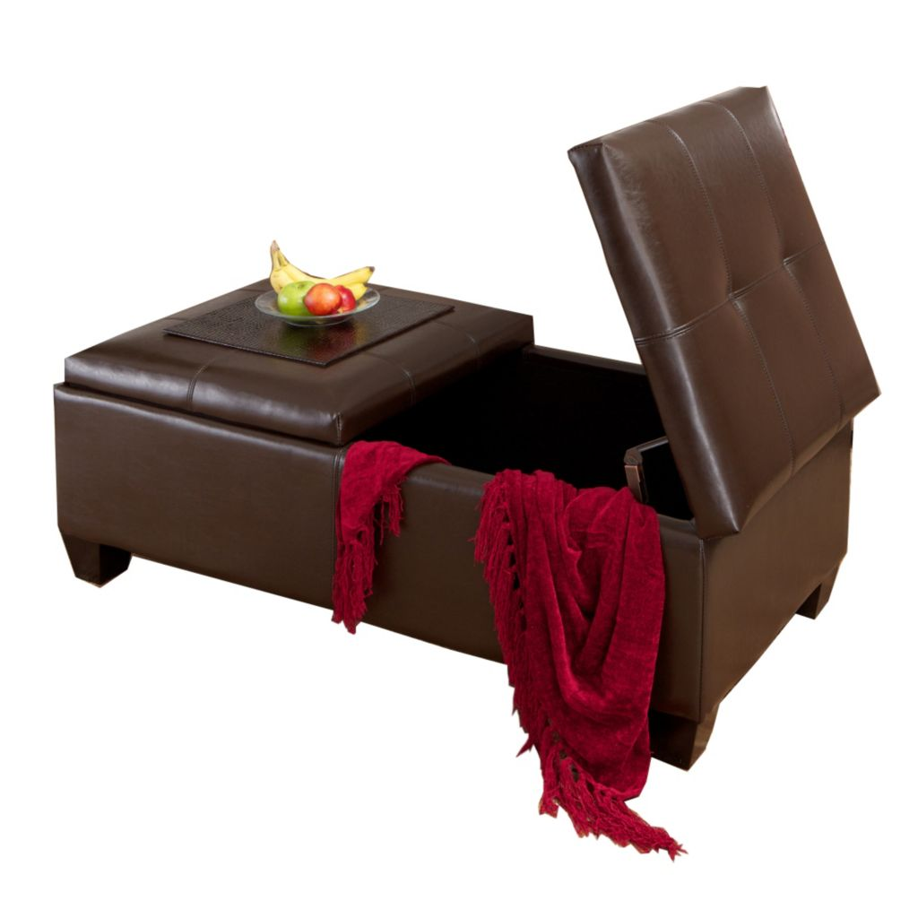 449-939 - Christopher Knight Home™ Brown Leather Storage Ottoman